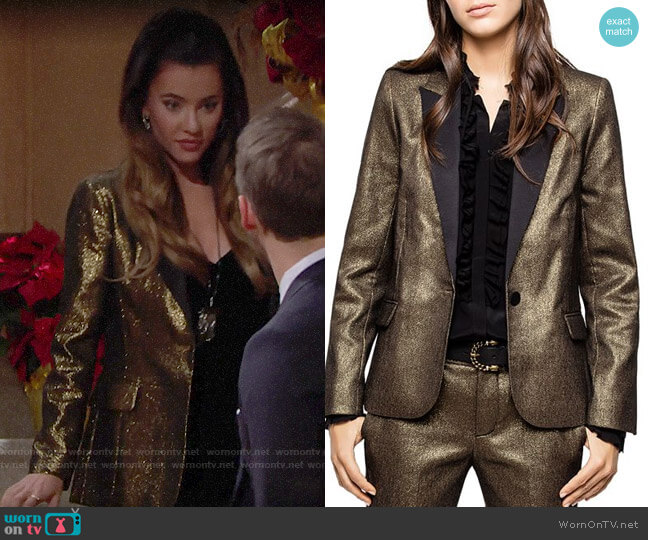 Zadig & Voltaire Victor Metallic Blazer worn by Steffy Forrester (Jacqueline MacInnes Wood) on The Bold & the Beautiful