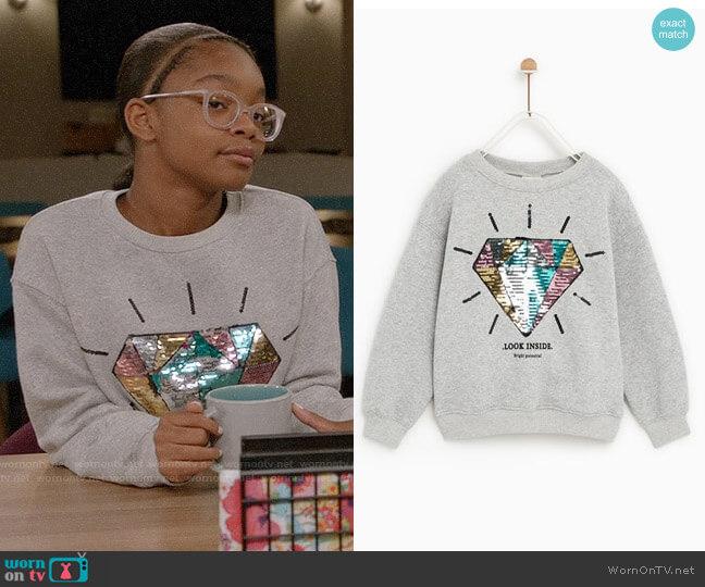 Zara Sequin Diamond Sweatshirt worn by Diane Johnson (Marsai Martin) on Blackish
