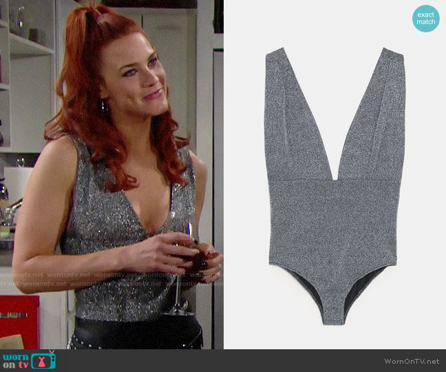 Zara Bodysuit with Metallic Thread worn by Courtney Hope on The Bold & the Beautiful