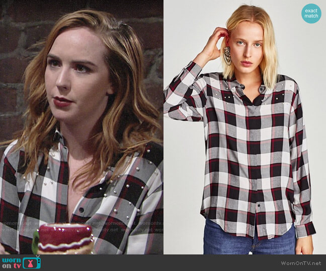 Zara Beaded Check Top worn by Mariah Copeland (Camryn Grimes) on The Young & the Restless