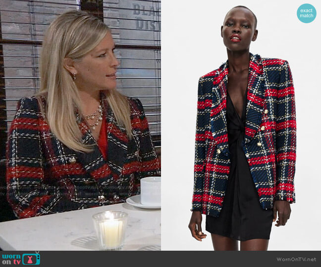 Zara Checkered Tweed Blazer worn by Carly Corinthos (Laura Wright) on General Hospital