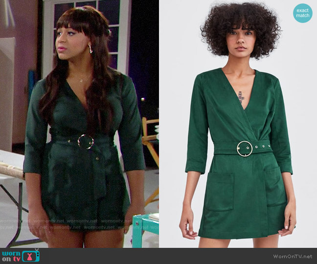 Zara Faux Suede Jumpsuit worn by Emma Barber (Nia Sioux) on The Bold & the Beautiful