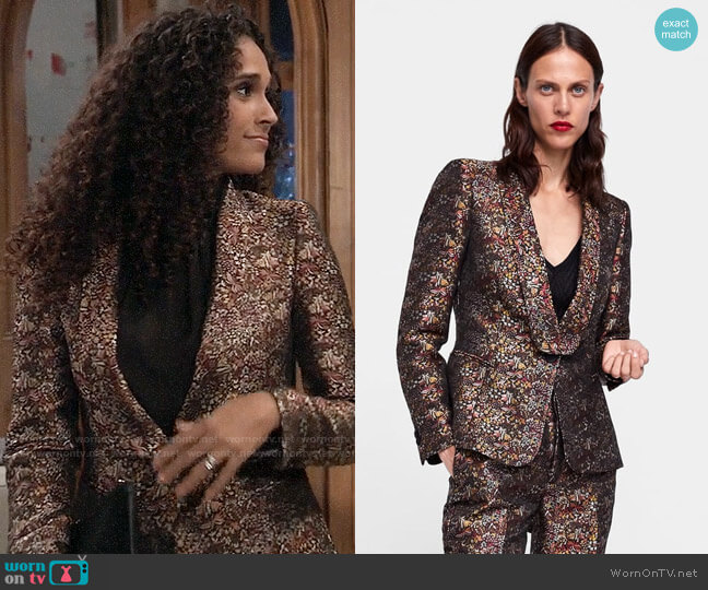 Zara Floral Jacquard Blazer worn by Jordan Ashford (Briana Nicole Henry) on General Hospital