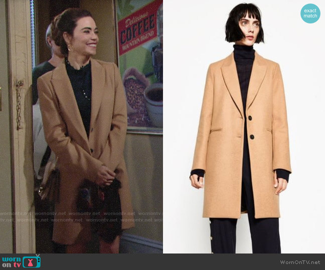 Zara Masculine Coat worn by Victoria Newman (Amelia Heinle) on The Young & the Restless