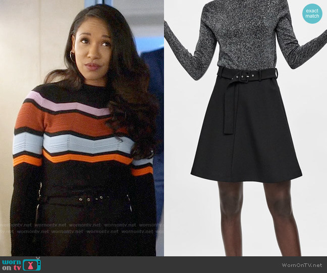Zara Mini Skirt with Belt worn by Iris West (Candice Patton) on The Flash