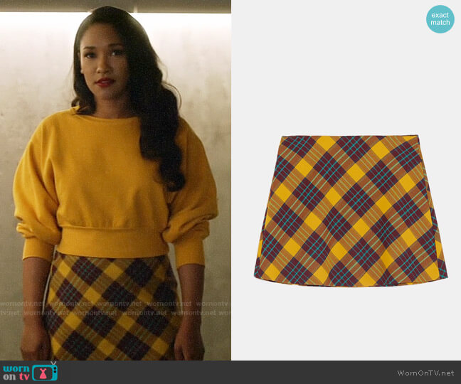Zara Plaid Mini Skirt worn by Iris West (Candice Patton) on The Flash