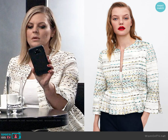 Zara Textured Peplum Jacket worn by Maxie Jones (Kirsten Storms) on General Hospital