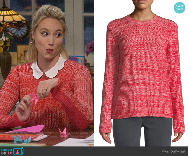 Derek Lam 10 Crosby Ribbed Crewneck Merino Pullover Sweater worn by Molly McCook on Last Man Standing