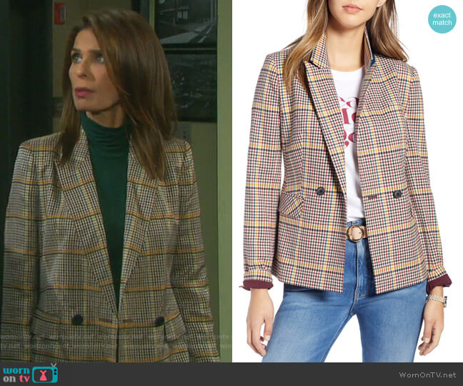 Double Breasted Plaid Blazer by 1901 worn by Hope Williams (Kristian Alfonso) on Days of our Lives