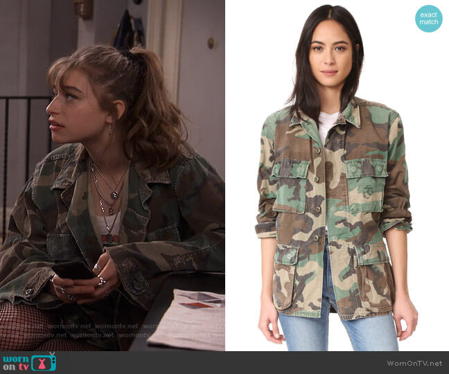 Vintage Camo Jacket by A Fine Line worn by Shannon (Odessa Adlon) on Fam