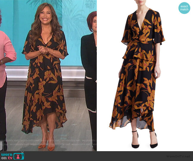 Avi Floral Knot Dress by A.L.C. worn by Carrie Inaba  on The Talk