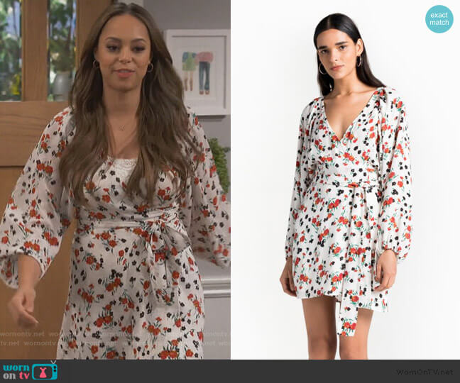 Carlo Floral Wrap Dress by ALC worn by Claire (Amber Stevens West) on Happy Together