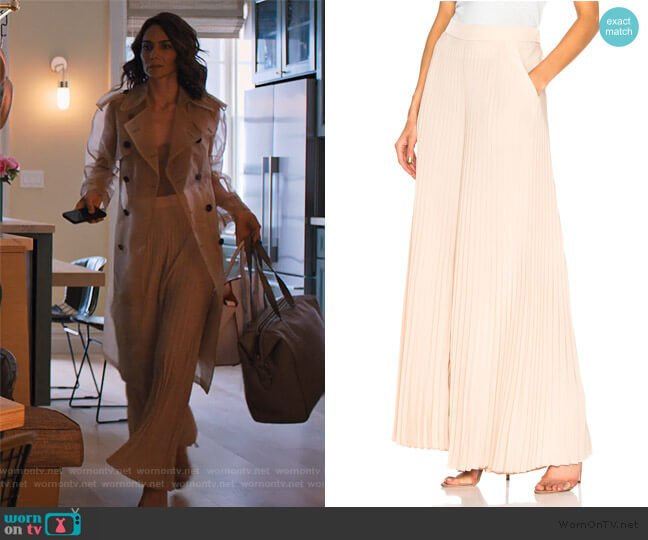Donovan Pleated Wide-Leg Pants by A.L.C. worn by Samantha Delmonico (Annie Parisse) on Friends from College
