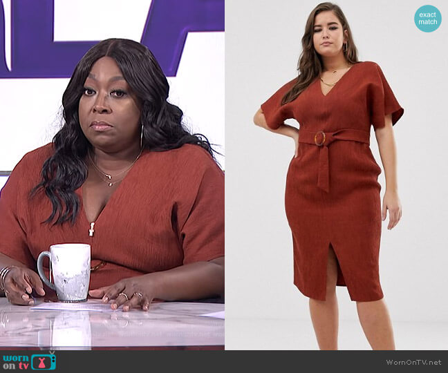 Kimono Sleeve Midi Dress with Faux Tortoiseshell Buckle by Asos Design Curve worn by Loni Love  on The Real