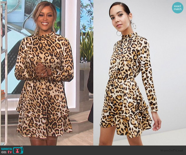 Layered Mini Dress in Leopard Print by Missguided at ASOS worn by Eve  on The Talk