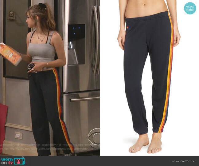 Stripe Sweatpants by Aviator Nation worn by Shannon (Odessa Adlon) on Fam