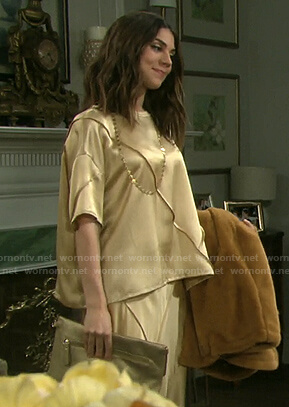 Abigail's gold short sleeve top and skirt on Days of our Lives