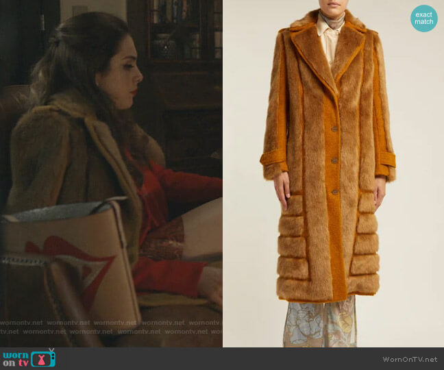 Faux Fur-Trimmed Jute-Blend Coat by Acne Studios worn by Fallon Carrington (Elizabeth Gillies) on Dynasty