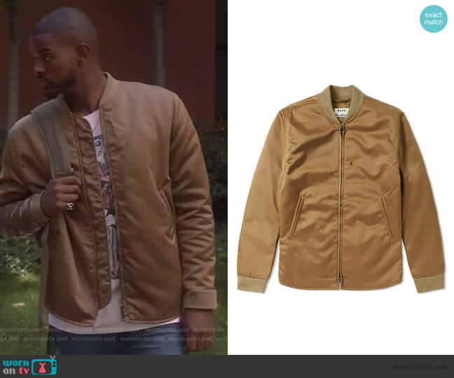 Mylon Matt Bomber Jacket by Acne Studios worn by Aaron Jackson (Trevor Jackson) on Grown-ish