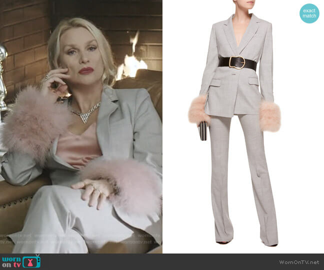 Convertible Tailored Jacket and Boot Leg Pant by Adeam worn by Alexis Carrington (Nicollette Sheridan) on Dynasty