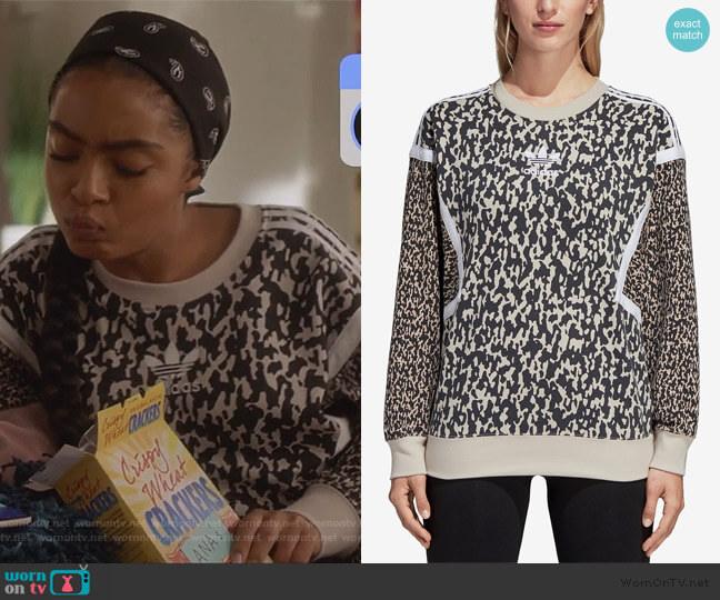 Leoflage Printed Sweatshirt by Adidas worn by Zoey Johnson (Yara Shahidi) on Grown-ish