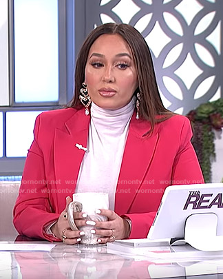 Adrienne's pink double breasted blazer on The Real