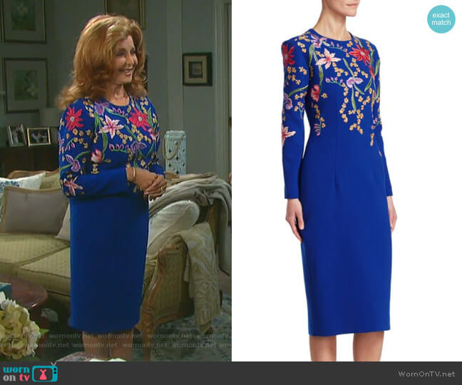Embroidered Midi Sheath Dress by Ahluwalia worn by Maggie Horton (Suzanne Rogers) on Days of our Lives