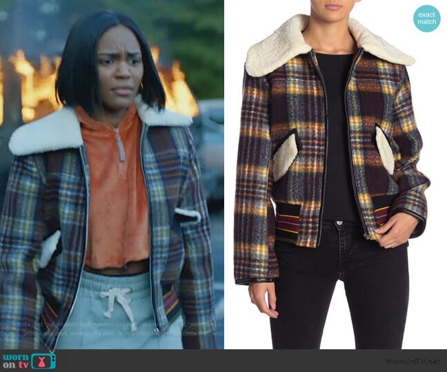 Faux Shearling Trim Plaid Bomber Jacket by Aiden worn by Jennifer Pierce (China Anne McClain) on Black Lightning