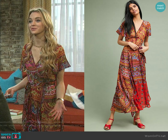 Murol Wrapped Maxi Dress by Akemi + Kin worn by Claire Brady (Olivia Rose Keegan) on Days of our Lives