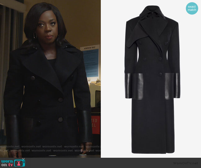 Double-Breasted Coat With Leather Pockets by Alexander McQueen worn by Annalise Keating (Viola Davis) on HTGAWM