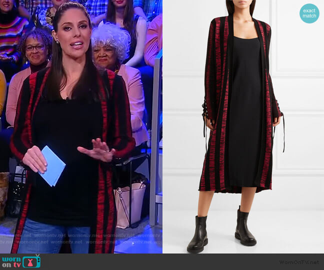 Bodycon Striped Lace-Up Cardigan by Alexander McQueen worn by Abby Huntsman  on The View