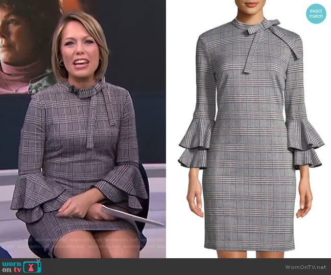 Plaid Bell-Sleeve Tie-Neck Sheath Dress by Alexia Admor worn by Dylan Dreyer  on Today