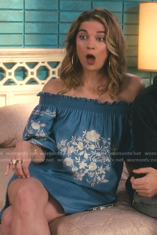 Alexis's blue floral embroidered off-shoulder dress on Schitt's Creek