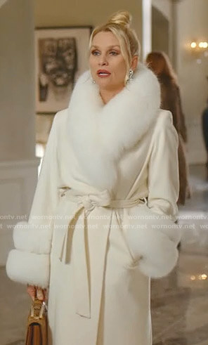 Alexis's white fur shawl collar wrap coat on Dynasty
