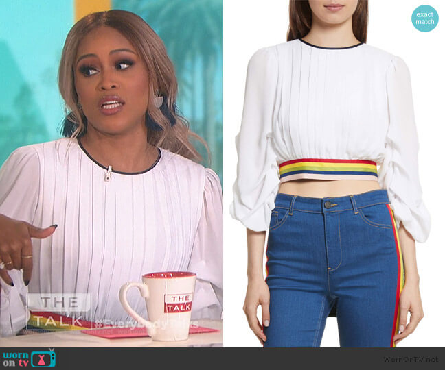 Dakota Tack Sleeve Top by Alice + Olivia worn by Eve  on The Talk