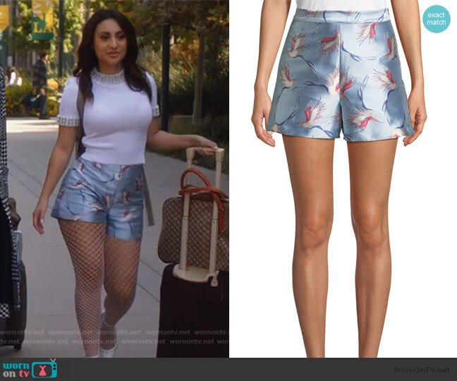 Heath High-Waist Bird-Print Satin Shorts by Alice + Olivia worn by Ana Torres (Francia Raisa) on Grown-ish