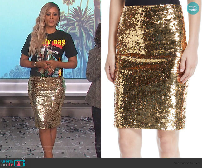 Ramos Sequin Pencil Skirt by Alice + Olivia worn by Eve  on The Talk