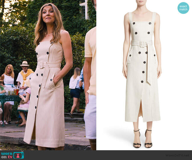 Audrey Button Detail Pinstripe Dress by Altuzarra worn by Sarah Chalke on Friends from College