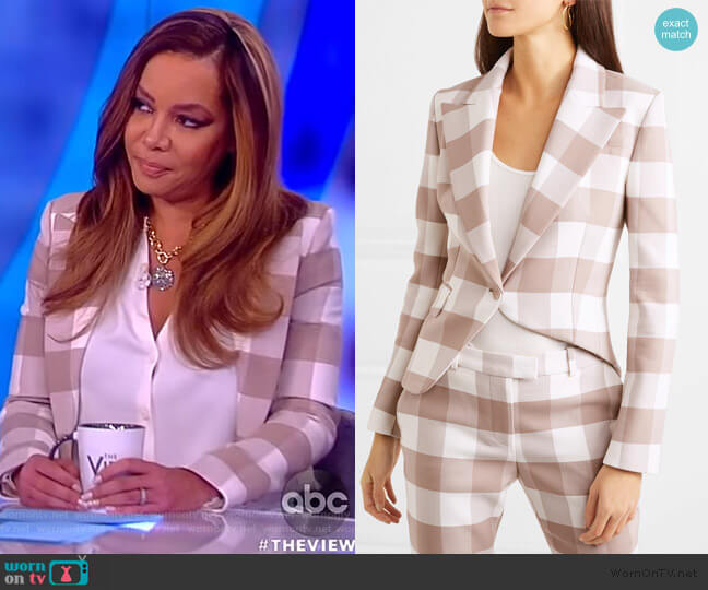 Lazio asymmetric gingham wool-blend twill blazer by Altuzarra worn by Sunny Hostin  on The View