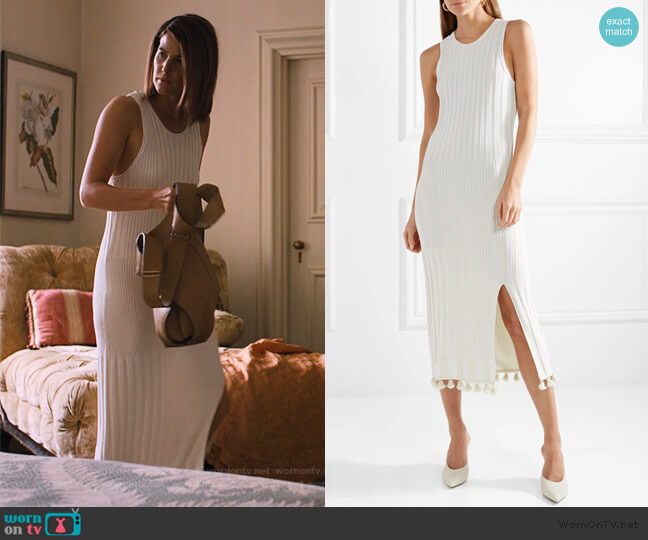 Lutetia tasseled ribbed stretch-knit midi dress by Altuzarra worn by Lisa Turner (Cobie Smulders) on Friends from College