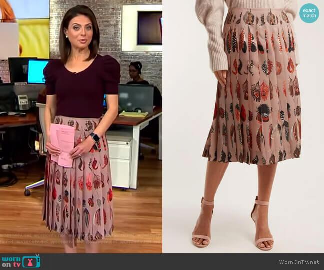 Sirocco Pleated Skirt by Altuzarra worn by Bianna Golodryga on CBS This Morning