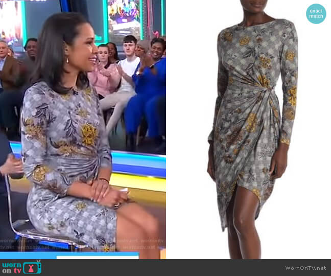 2KN5135Z508 Gold Flower Knit Dress by Amelia  worn by Adrienne Bankert  on Good Morning America