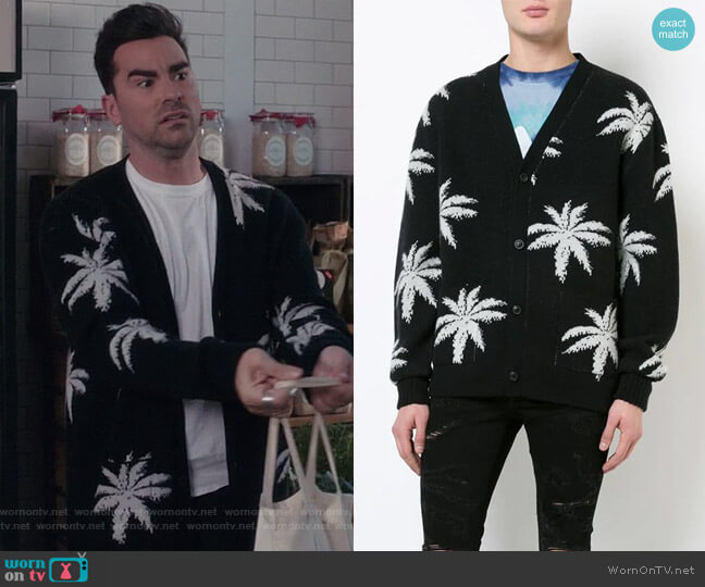 Palm Cardigan by Amiri worn by David Rose (Daniel Levy) on Schitts Creek