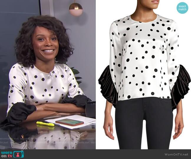 Fern Silk Polka Dot Blouse by Amur worn by Zuri Hall  on E! News