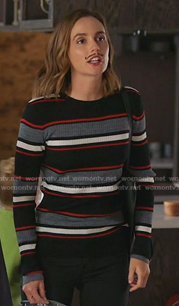 Angie's black striped ribbed sweater on Single Parents