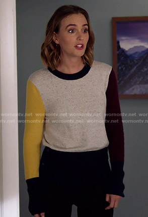 Angie's colorblock sweater on Single Parents