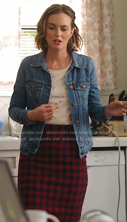 Angie's denim jacket and checked pencil skirt on Single Parents