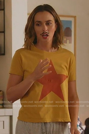 Angie's yellow star print tee on Single Parents
