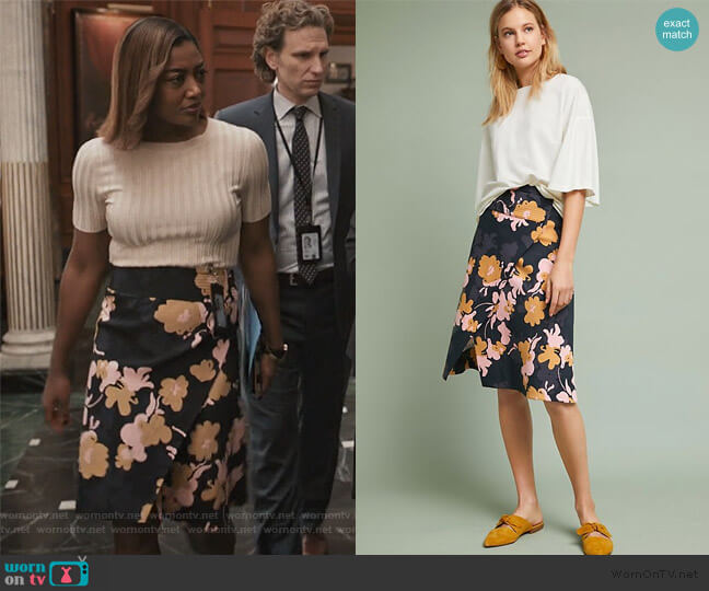 Oktava Wrap Skirt by Anthropologie worn by Daisy Grant (Patina Miller) on Madam Secretary