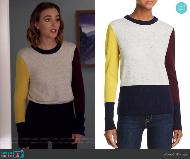 Color-Block Cashmere Crewneck Sweater by Aqua Cashmere worn by Angie (Leighton Meester) on Single Parents